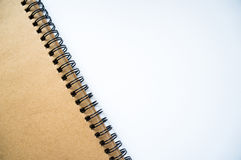 Notebook background. Brown notebook on the white background stock photo