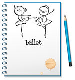 A notebook with ballet dancers at the cover page Stock Images