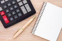 Notebook, ballpen and calculator Royalty Free Stock Photo