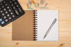 Notebook, ballpen and calculator Royalty Free Stock Photography