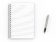 Notebook  and ballpoint pen Stock Photography