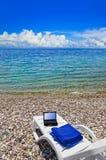 Notebook on beach Stock Photo