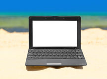 Notebook on beach Stock Photos