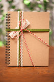 Notebook bind with colorful ribbon Stock Photography