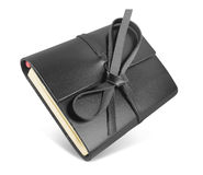 Notebook with black leather cover Stock Photography