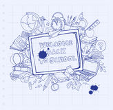 Notebook blackboard frame greeting card welcome back to school w Stock Photography