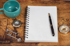 Notebook with blank pages, black pen Royalty Free Stock Photo
