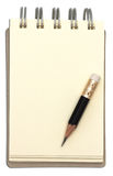 Notebook and blank paper with short pencil. Stock Photo