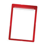 Notebook blank with spiral  red Stock Images