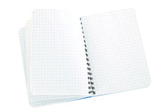 Notebook blue checked flipped Stock Photos