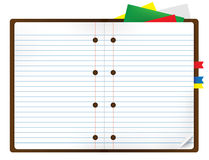 Notebook with bookmark and notepads Royalty Free Stock Photos