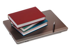 Notebook, books and pen Stock Image