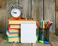 Notebook, books and school tools Stock Photo