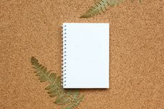 Notebook on a spring on a cork background with a dried fern. The notebook on a brown cork background with a dried fern. Place for text, flatlay for your design royalty free stock images