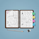 Notebook with business pencil drawings. Opened notebook with pencil business project drawings and diagrams with charts. Realistic flat style illustration. Pencil Royalty Free Stock Photo