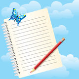 Notebook and butterfly Royalty Free Stock Image