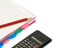 Notebook and calculator Stock Photography