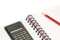 Notebook and calculator Royalty Free Stock Photo
