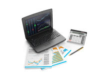 Notebook, calculator and business Royalty Free Stock Photos