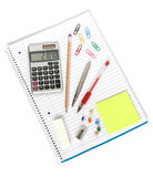 Notebook calculator pen pencil sharpener eraser Stock Photos