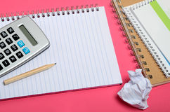 Notebook with calculator Stock Image