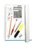Notebook calculator ruler pens Stock Photos