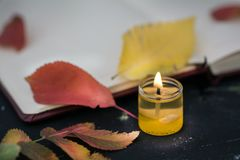 Notebook with candle and leave royalty free stock images