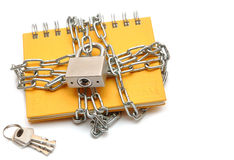 Notebook with a chain Stock Photo