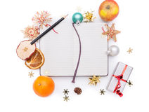 Notebook with christmas decoration Stock Images
