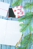 Notebook and christmas decoration Stock Image