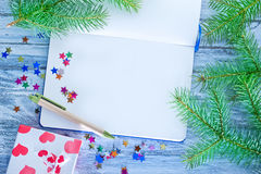 Notebook and christmas decoration Stock Photography