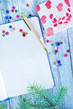 Notebook and christmas decoration Royalty Free Stock Photo