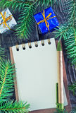 Notebook and christmas decoration Stock Photo