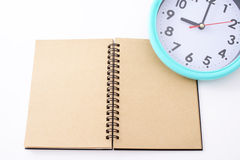 Notebook with clock Royalty Free Stock Image