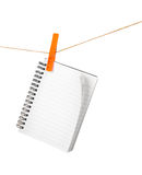 Notebook on clothespins Royalty Free Stock Photography