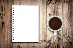 Notebook and coffee Royalty Free Stock Photos