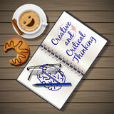 Notebook and coffee cup with croissant Royalty Free Stock Photos