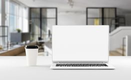 A notebook with coffee cup, mockup. Home office concept. 3d illustration. A notebook on the table with coffee cup, mockup. Home office concept. 3d illustration Royalty Free Stock Photos