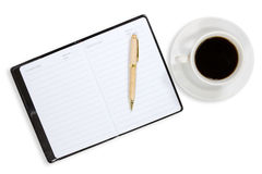Notebook and coffee cup Royalty Free Stock Image