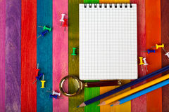 Notebook on a colored background Stock Image