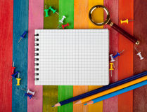 Notebook on a colored background Stock Photos