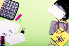 Notebook, colored bookmarks, elastics, clips and numbers stock images