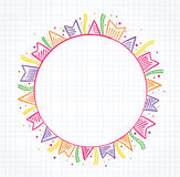 Notebook with colored flags drawing. Around a circle with space to place text Royalty Free Stock Photo