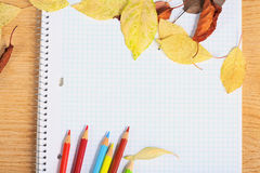 Notebook with colored pencils and autumn leaves. Stock Image