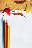 Notebook with colored pencils and autumn leaves. Stock Images