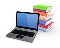 Notebook and colorful books. Stock Photos