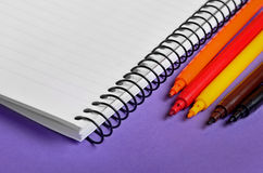 Notebook with colorful marker Stock Image