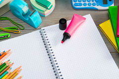 Notebook with colorful stationery Royalty Free Stock Photos
