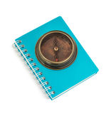 Notebook with  compass  on white background Stock Images