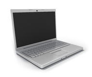 Notebook Computer [Clipping Path]. Modern Laptop Computer (wide angle) with Clipping Path around Screen and Outline. Isolated on White Background. High Quality Royalty Free Stock Photo